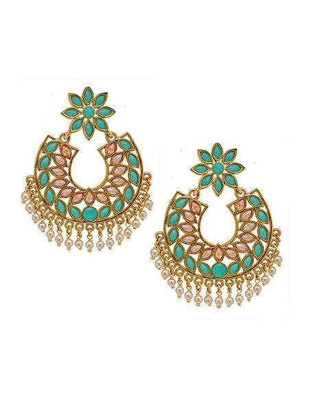 Marquise Cut Colored Stone Studded Chandelier Drop Earrings