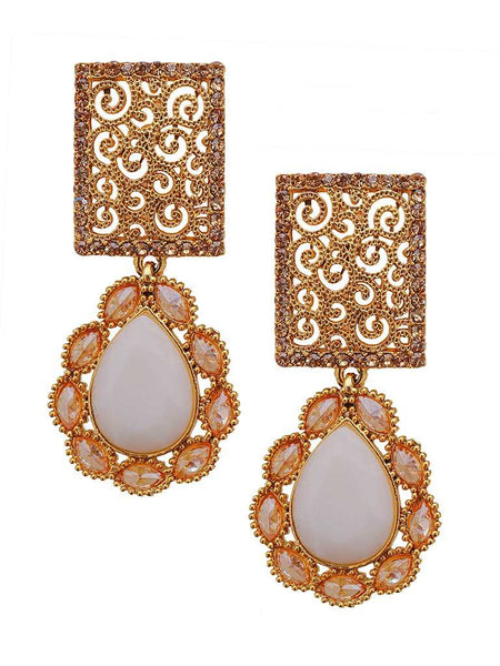 Ad Studded White Pear Stone Drop Earrings