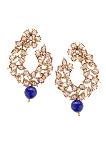 Ad Studded Blue Crystal Drop Earrings