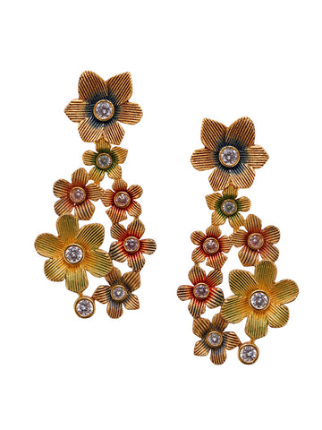 Multi Colored Enamelled Floral Chandelier Earrings