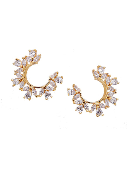 Golden Arch Shaped Ad-Crystal Earrings