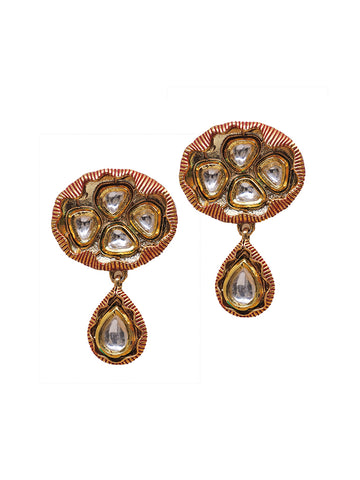 Kundan Studded Coloured Drop Earrings
