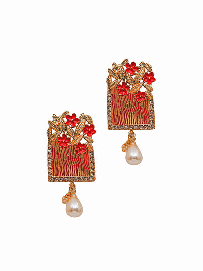 Crystal Studded Floral Pearl Drop Earrings-red