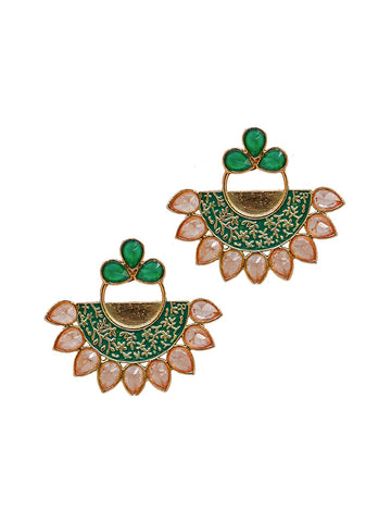 Coloured Crystal Studded Enamelled Earrings