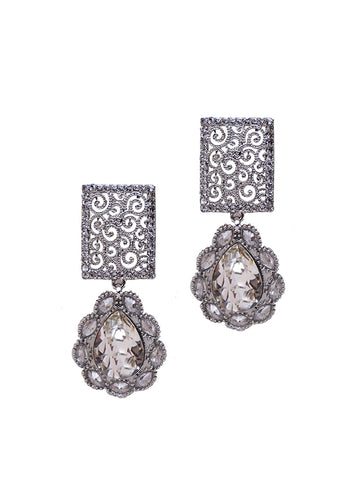 Crystal Work Silver Dangle Drop Earrings