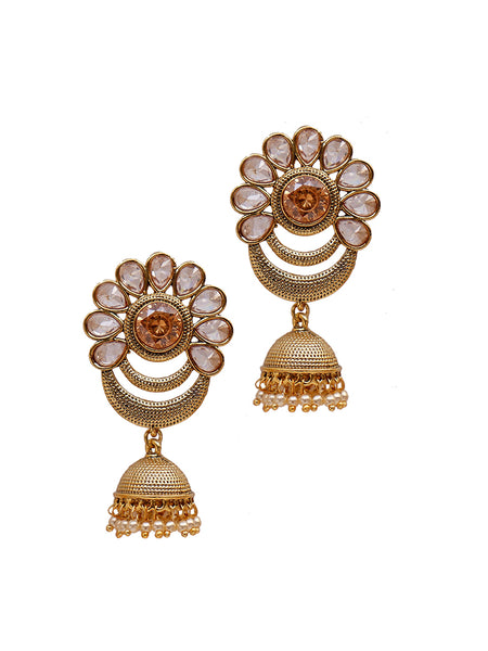 Crystal & Pearl Studded Textured Jhumki Earrings