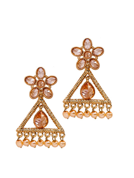 Ad-Stone & Pearl Studded Dangler Earrings