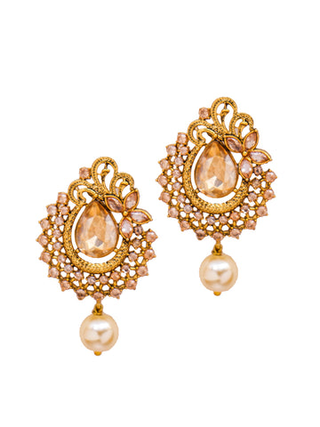 Floral Ad Studded Pearl Drop Stud Earrings