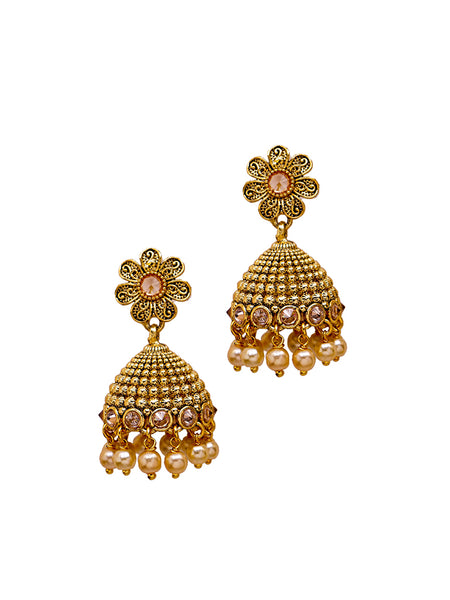 Floral Ad Studded Pearl Jhumki Earrings