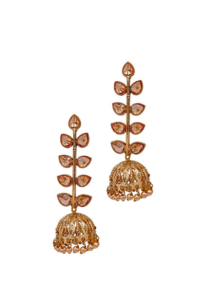 Ad-Crystal Studded Leaf Baile Jhumki Drop Earrings