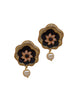 Ad Studded Textured Cluster Pearl Drop Earrings