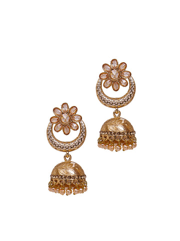 Crystal Studded Pearl Chandbali Jhumki Earrings
