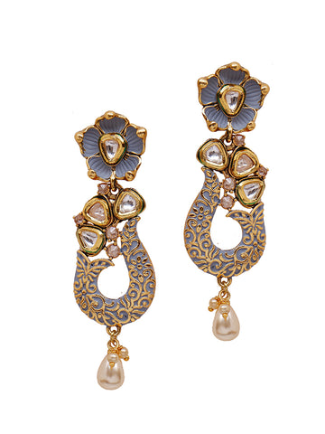 Kundan Work Floral Enamelled Pearl Drop Earrings-blue