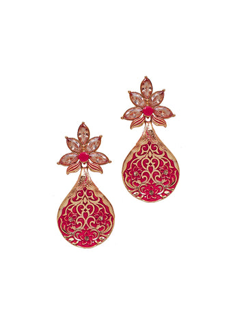Ad Studded Floral Enamelled Cluster Drop Earrings-orange