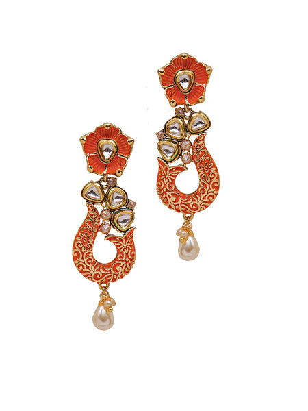 Kundan Work Floral Enamelled Pearl Drop Earrings