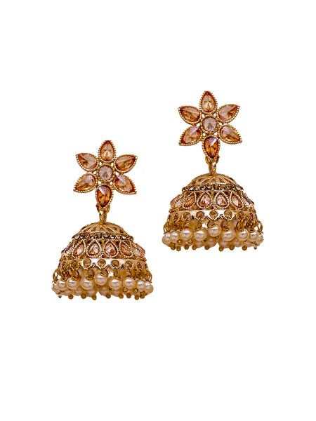 Ad Studded Pearl Jhumki Earrings