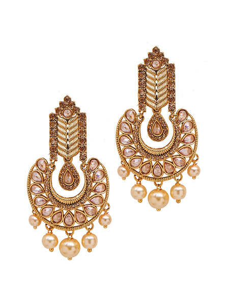 Golden Ad-Crystal Studded Chandelier Drop Earrings