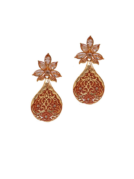 Ad Studded Floral Enamelled Cluster Drop Earrings - Orange