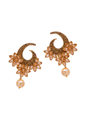 Ad Studded Floral Pearl Drop Earrings