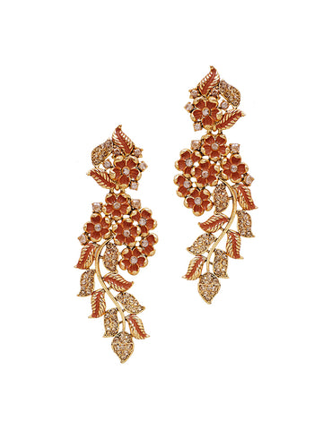 Ad Studded Floral Enamelled Dangler Drop Earrings