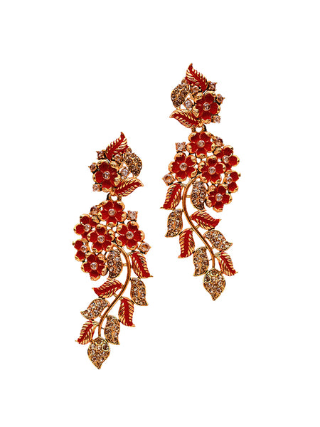 Ad Studded Floral Enamelled Dangler Drop Earrings-red