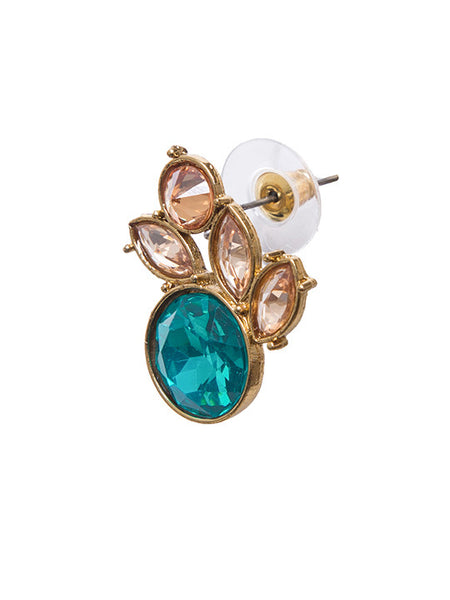 Turquoise - Colored Ad-stone Stud Earrings
