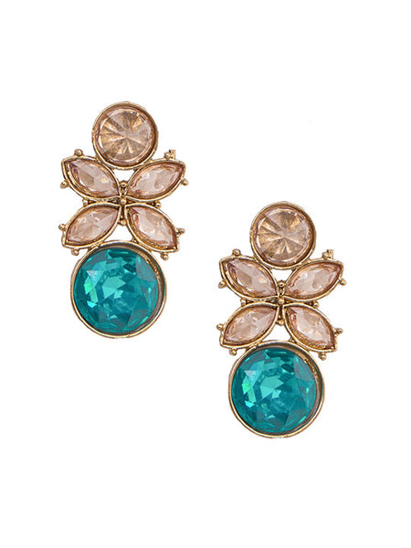 Golden Earring With Tiffany Blue & Golden Crystal