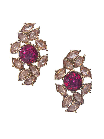 Ad-Crystal Studded Stud Earrings - Pink