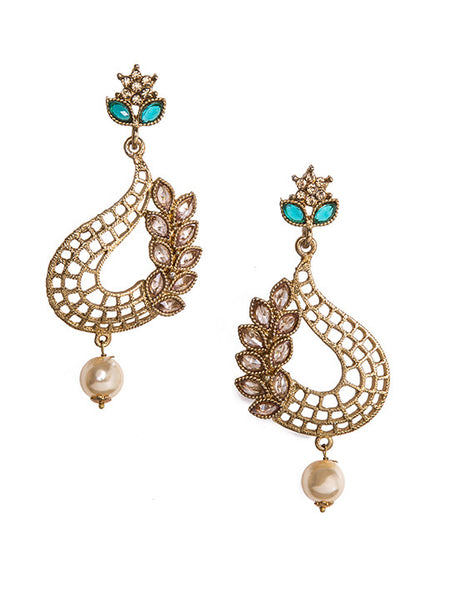 Colored Ad-stone & Pearl Drop Earrings