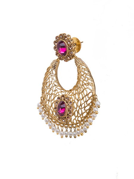 Ad-crystal & Pearl Studded Chandbali Earrings