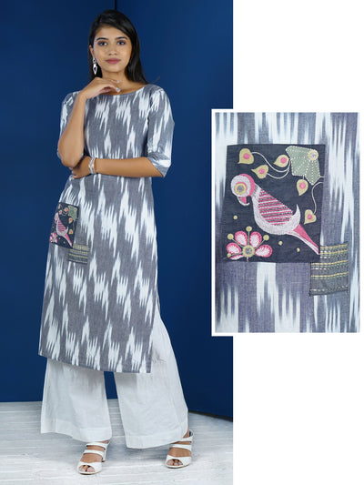 Resham & Zari Applique Work Ikkat Print Cotton Kurti