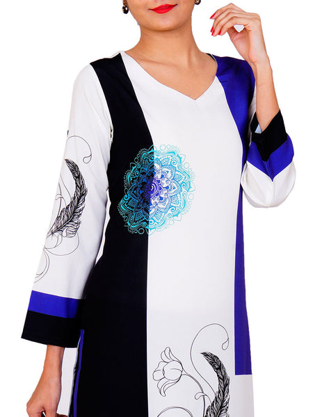 Off-White, Black & Blue Crepe De Chine Kurti