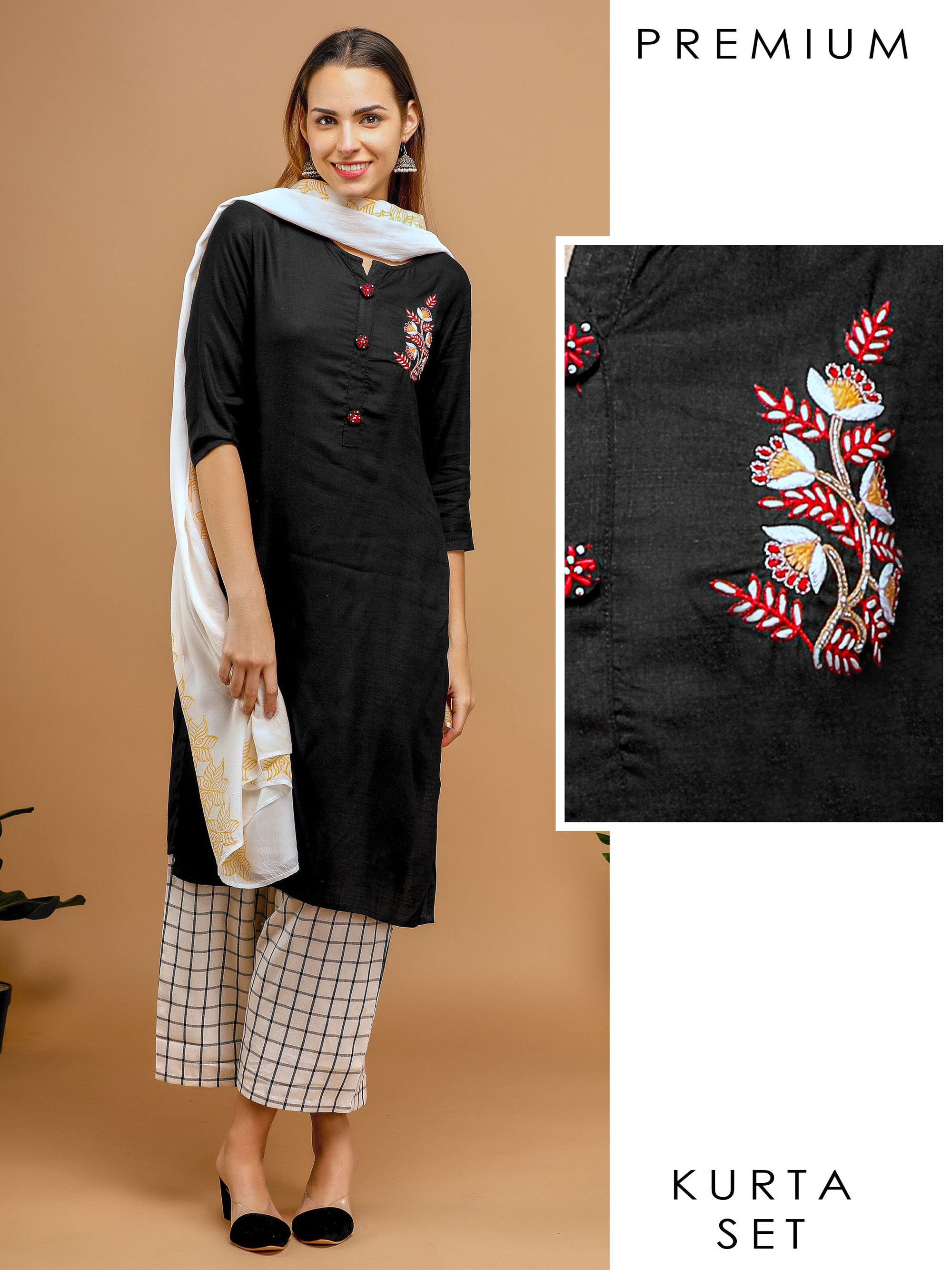 Solid color Embroidered Kurta with Pant & Dupatta
