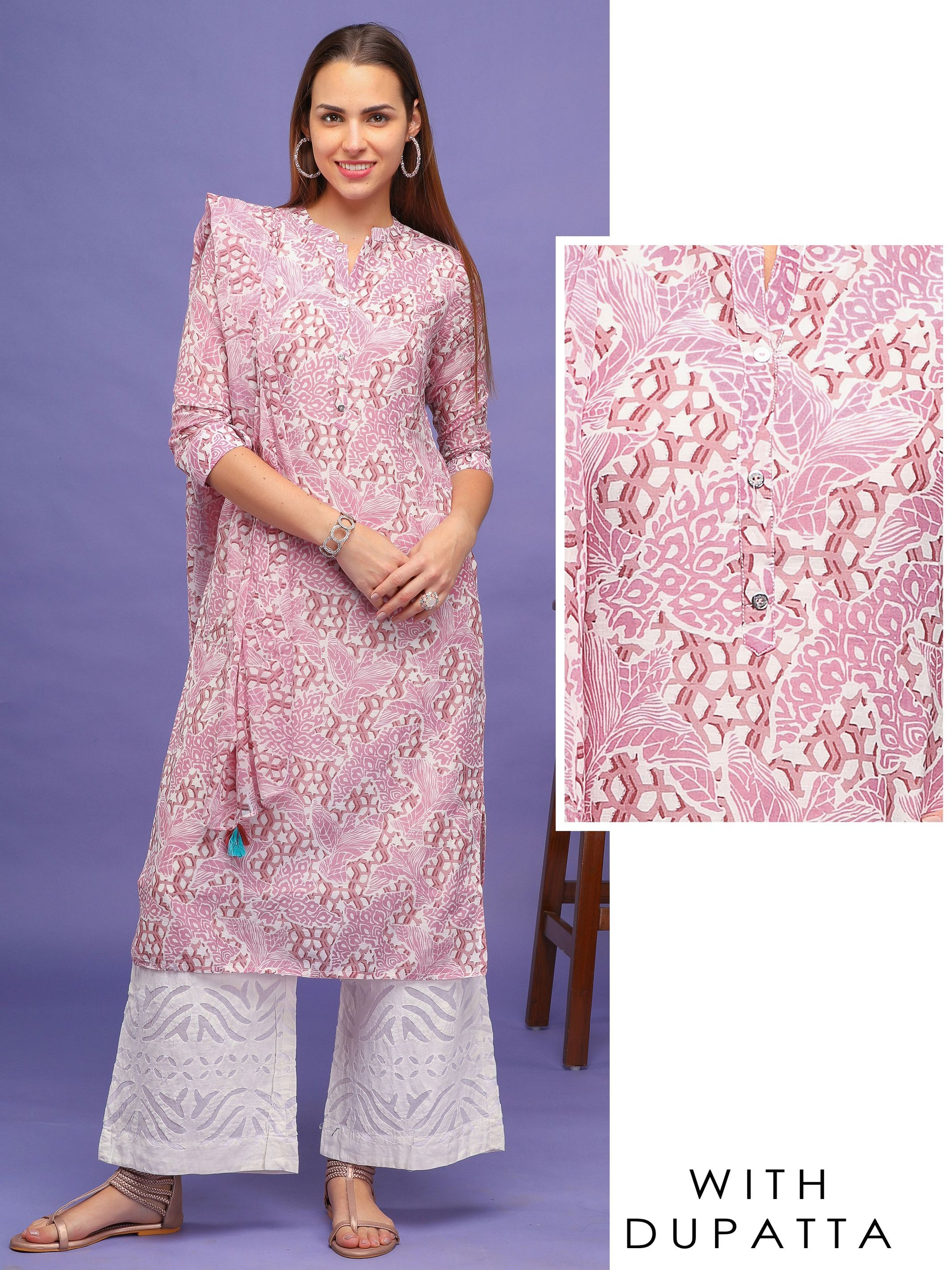 All over Print Kurti with Dupatta – Pink