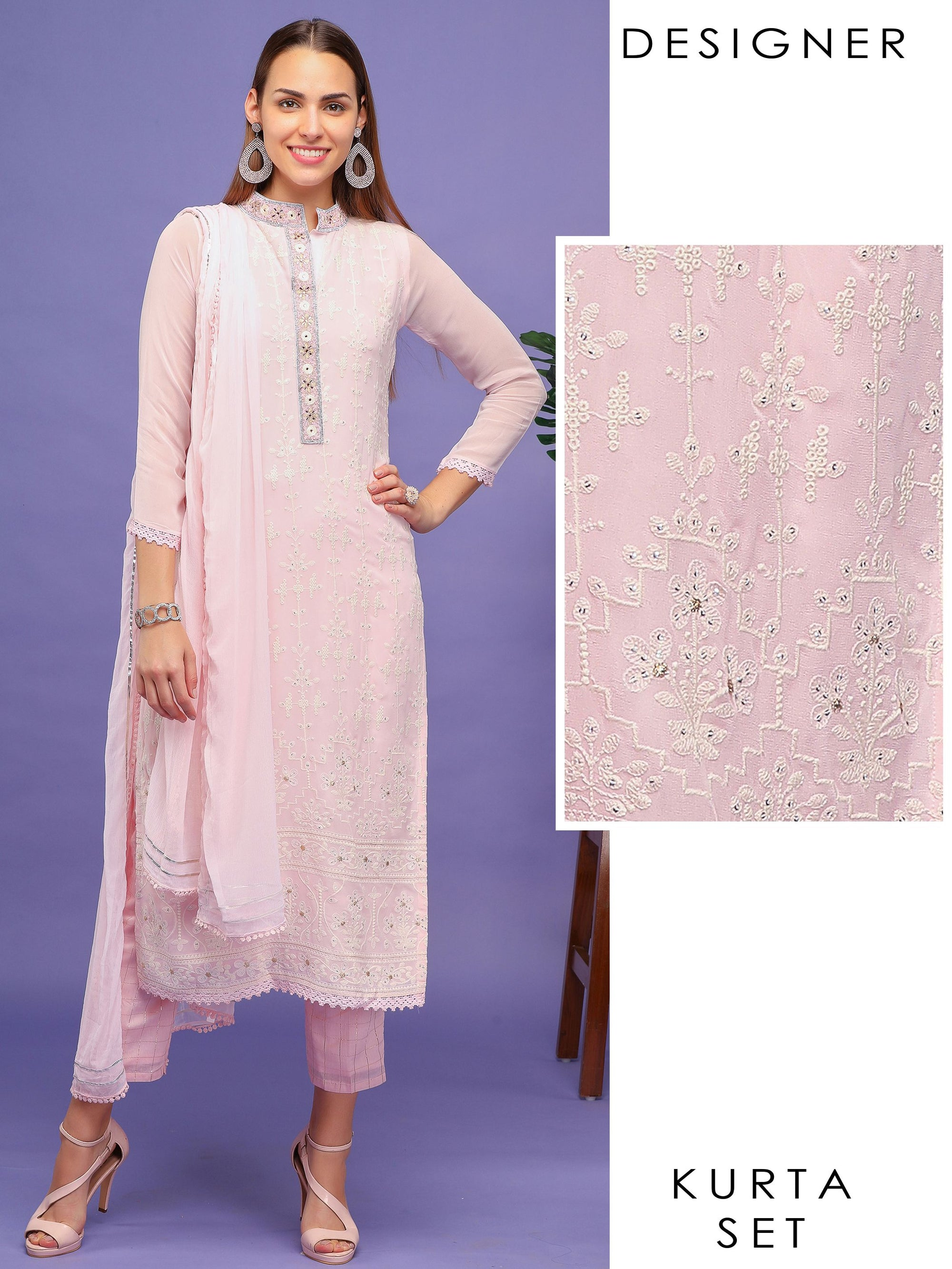 Chikankari Embroidered Kurti with Pant & Dupatta