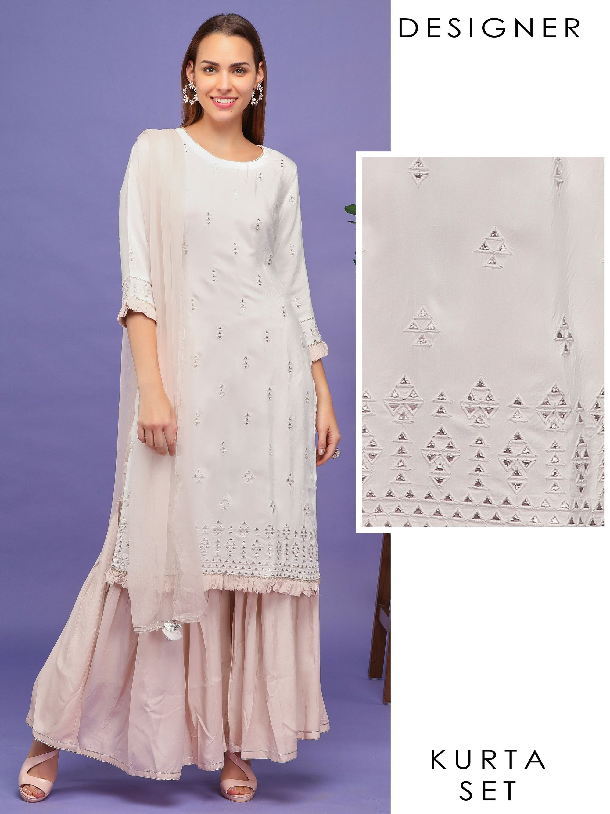 Mirror &  Embroidered Kurta with Sharara & Dupatta