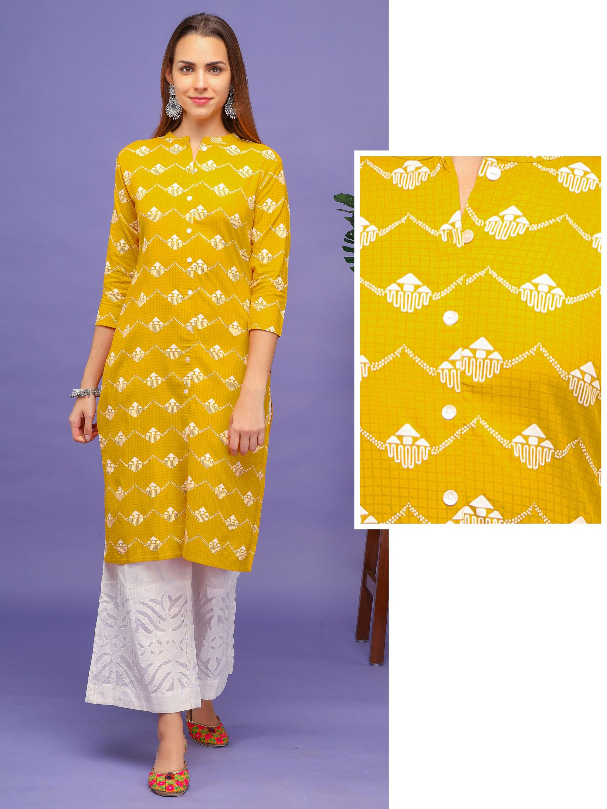All over Self Chequered printed Kurta – Yellow