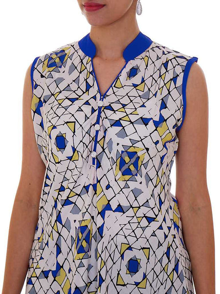 Mosaic Printed Cotton Rayon Kurti - Blue