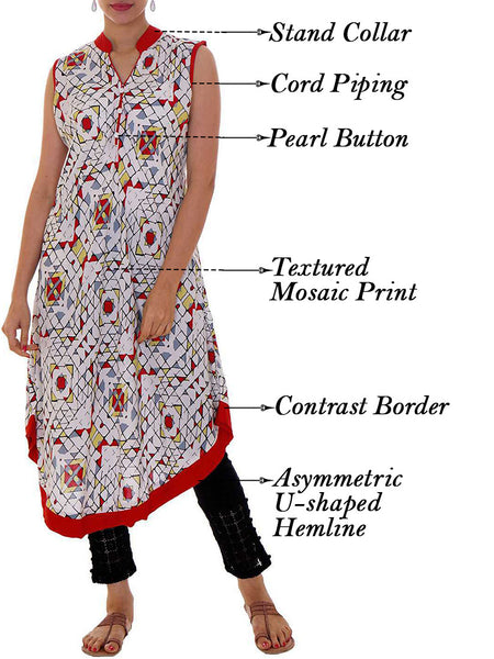 Mosaic Printed Cotton Rayon Kurti - Red