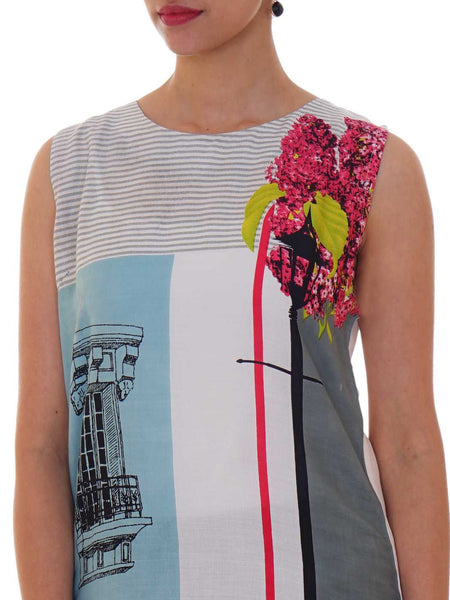 Printed Color Blocked Cotton Rayon Kurti