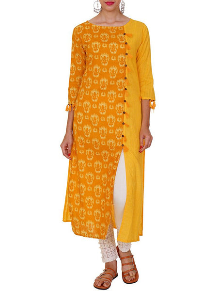 Abstract Ikkat Inspired Printed Panelled Cotton Jacquard Kurti