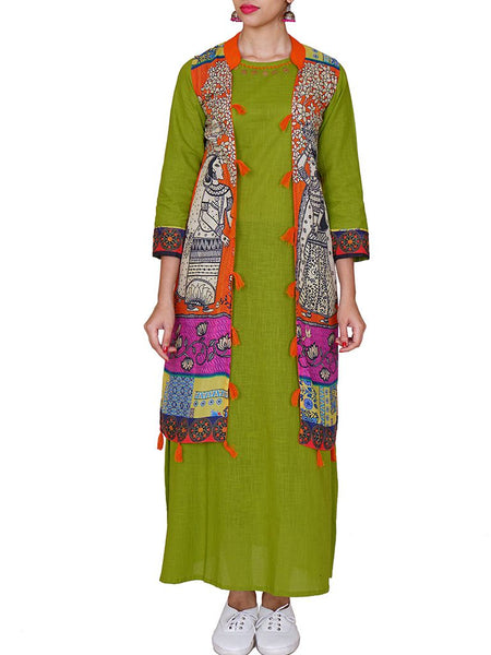 Ethnic Printed Jacket & Resham-Bead Work Cotton Kurti