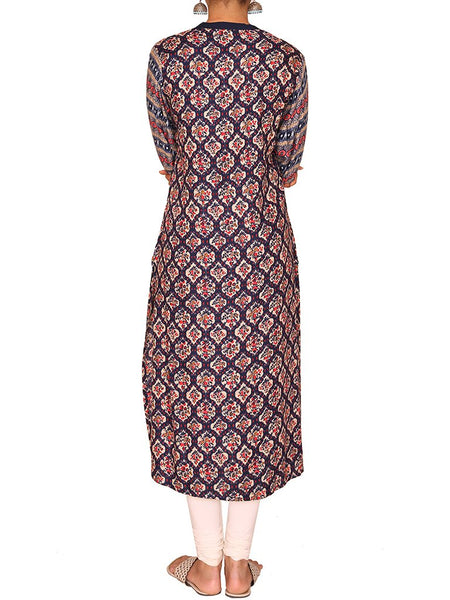 Floral Tessellation Printed Cotton Rayon Kurti