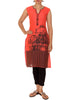 Architectural Print Cotton Kurti - Peach