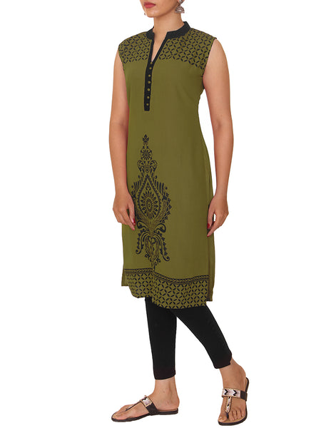 Ethnic Printed Rayon Pique Kurti - Olive Green