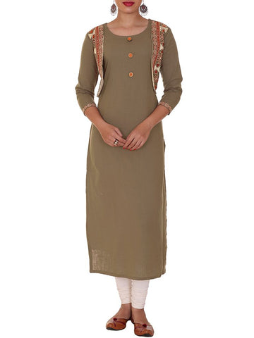 Resham Work Stitched Shrug & Cotton Kurti