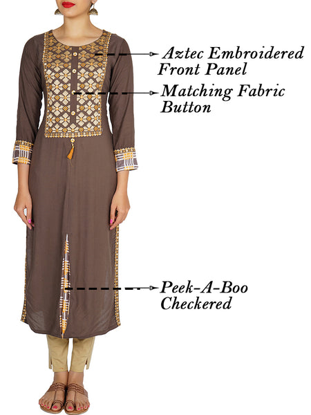 Embroidered & Checkered Rayon Kurti