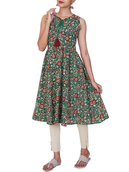 Fit & Flared tasseled Kalamkari Cotton Kurti