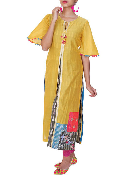 Hand Embroidered Layered Cotton Kurti