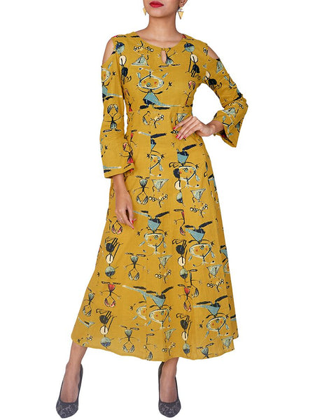 Abstract Printed Cold Shoulder Sleeved Cotton Kurti
